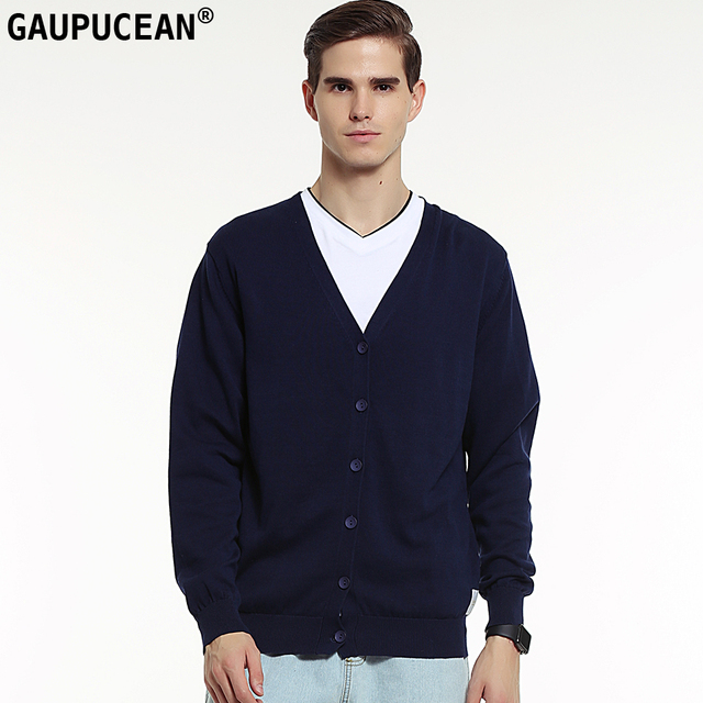 03661b4a6462e Genuino gaupucean hombre cardigan 100% algodón de manga larga azul marino  gris Otoño de punto