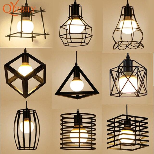 QYZBILY Pendant light Metal industrial lamp E27 Chain modern light fixtures