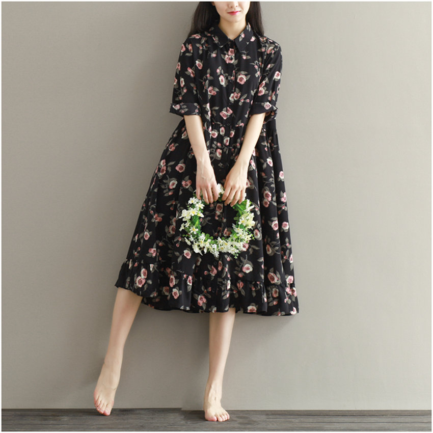 Summer Dress Floral Print Loose Waist Womens