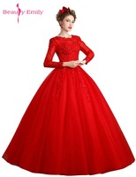 Beauty Emily Red Lace Beads Wedding Dresses 2017 Plus Size Bridal Gowns Ball Gown Vintage Robe