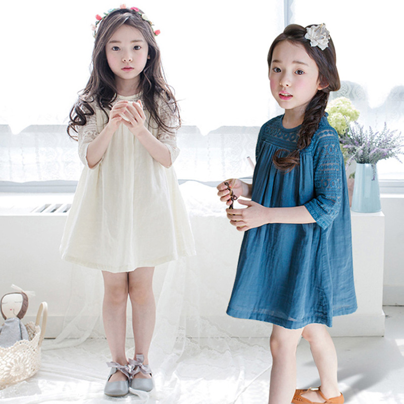Princess Girls Dress with Lace 2018 Summer Fall Kids Girls Cotton Dress Party Wedding Dresses Teenage Girls Clothes Blue White girl dress kids wedding bridesmaid children girls dresses summer 2016 evening party princess costume lace teenage girls clothes