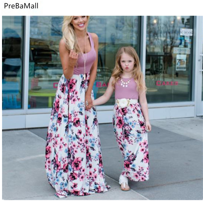 Summer Mother Daughter Dresses 2019 New Fashion Parent-child Sleeveless Flower Print And Clothes D31