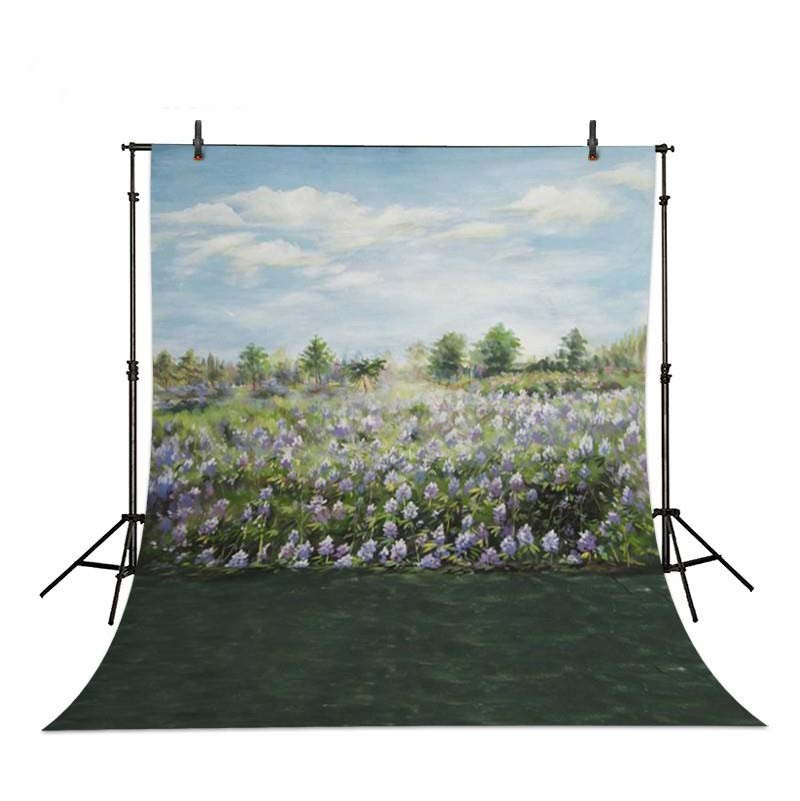 Blue Sky White Clouds Field Of Flowers Green Grass backdrops Vinyl cloth High quality Computer printed wall Backgrounds