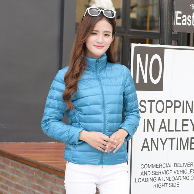 Winter jacket women 2016 high quality women's pure color coat collar winter down jacket down coat