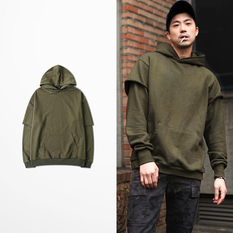 False Two Piece Green Color Mens Hoodies And Sweatshirts Fashion Design Casual Wear Hoodie 2017 Skatebaord Sweatshirt Men