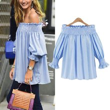 Elegant Blue Off Shoulder Female Blouse Shirt Girls Gray White Blouses Women Striped Tops XL-5XL