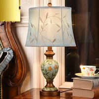 American Style Printing Bedroom Bedside Table light Loft Country Retro Living Room Office Desk Light Study Room Table Lamps