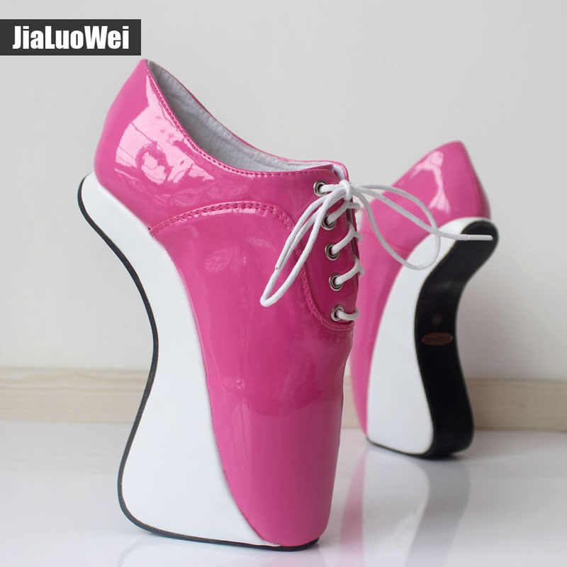 Phụ nữ 2018 Siêu Cao Gót Thời Trang Sexy Bơm ban nhạc Đàn Hồi Mắt Cá Chân Khởi Động Ngắn Sang Trọng Sáng Bóng Toe Nhọn Móng Heelless Múa Ba Lê giày