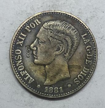 1881 España 5 Pesetas-moneda copia de segundo retrato XII