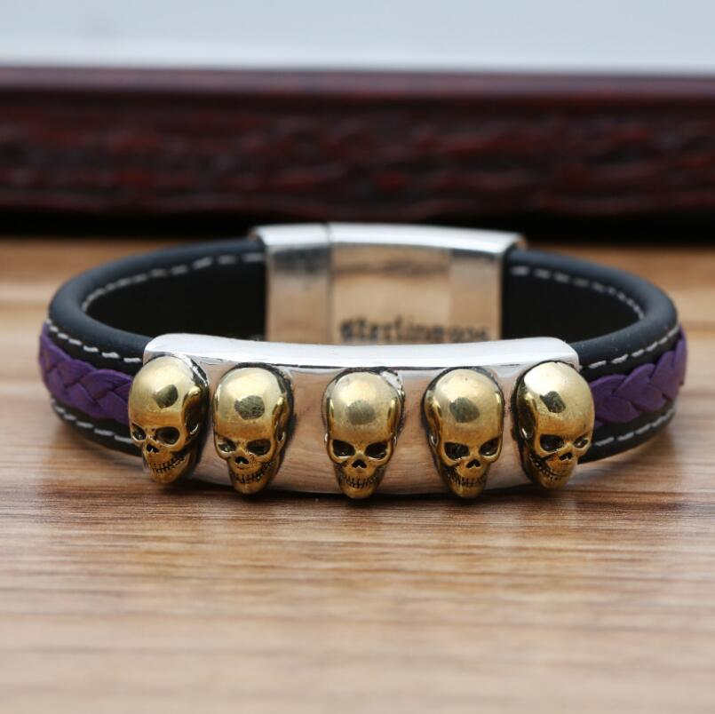 S925 sterling silver skull men and women fashion silver leather bracelet
