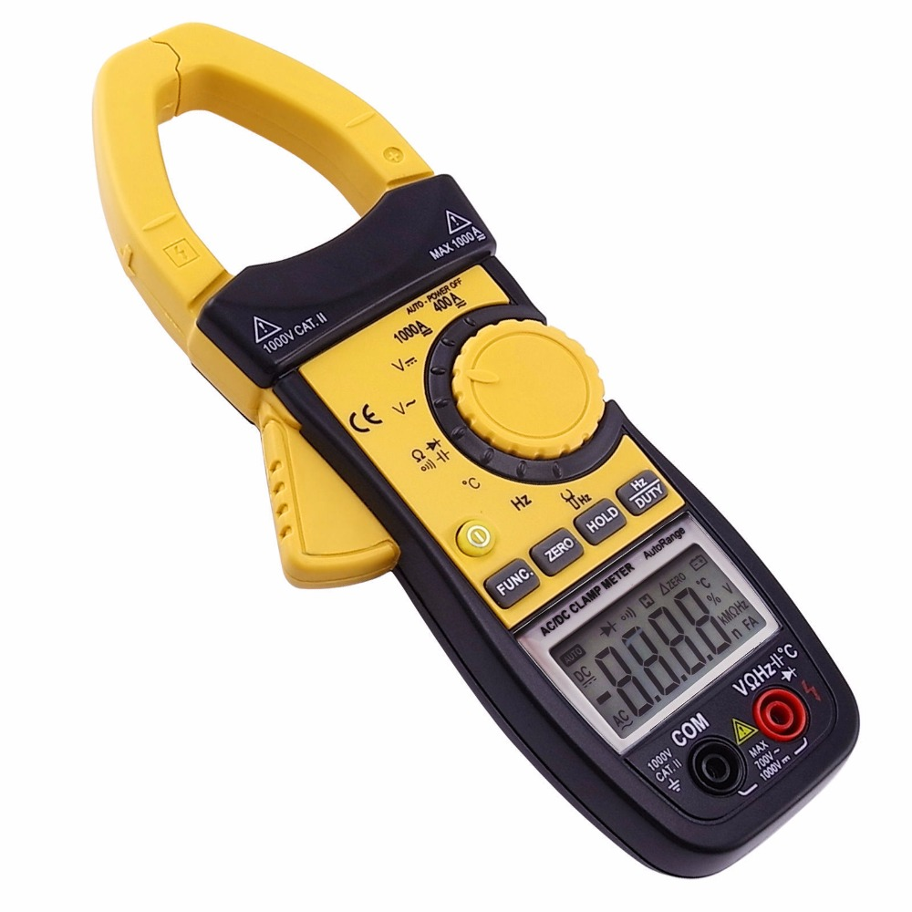 Auto Range Professional Multifunction Digital AC DC Clamp Meter Multimeter Thermometer Ohm 3999 counts Data hold