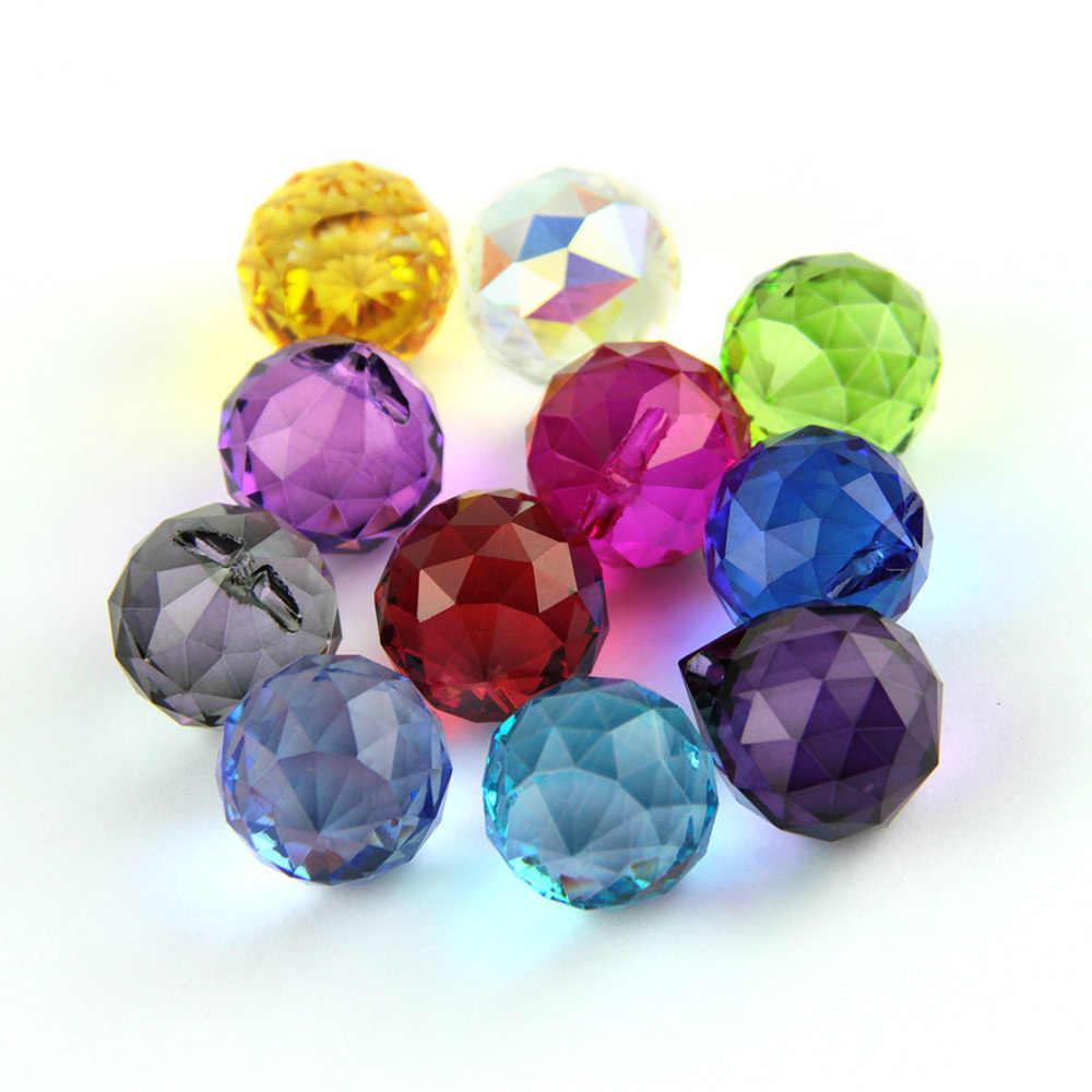 15 Mm/20 Mm/30 Mm/40 Mm Kleurrijke Crystal Facet Ball Prism Hanger Zon Catchers Opknoping ballen Kroonluchter Bal Voor Lamp Home Decor