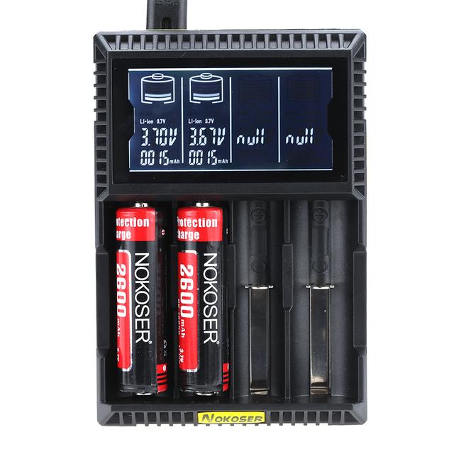 Original 4 Slots LCD Display Smart Battery Charger For iFePO4 NiMH NiCd AA/AAA Li-ion 18650/17670/18350/16340/14500/17500/22650