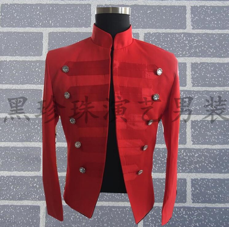 Hommes Costumes rouges conçoit des Costumes de scène personnalisés pour les chanteurs hommes Sequin Blazer vêtements de danse veste Style étoile col montant