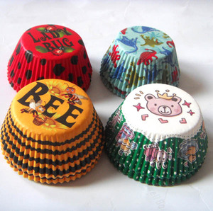 100 шт., камуфляжные вкладыши для капкейков выпечки на день рождения с изображением медведя, динозавра, леди Бага, коровы, чехол-кексы, поднос ...