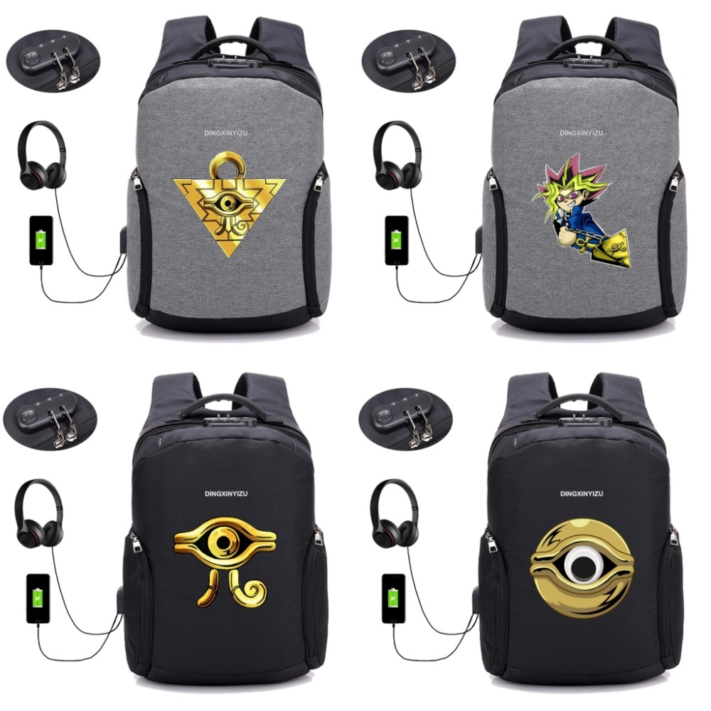 anime Yu Gi Oh backpack multifunction USB charging teenagers Men women's travel Laptop Bags Student School backpack 8 style zelda laptop backpack bags cosplay link hyrule anime casual backpack teenagers men women s student school bags travel bag page 2