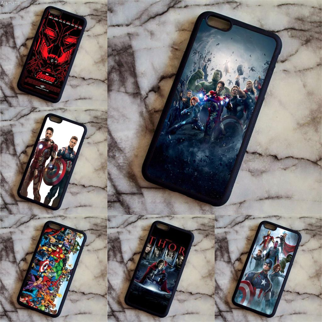 Arsmundi Cartoon characters series Captain America Design Avengers Loki THOR Phone for iPhone 7 8 Case Soft TPU Rubber Silicone