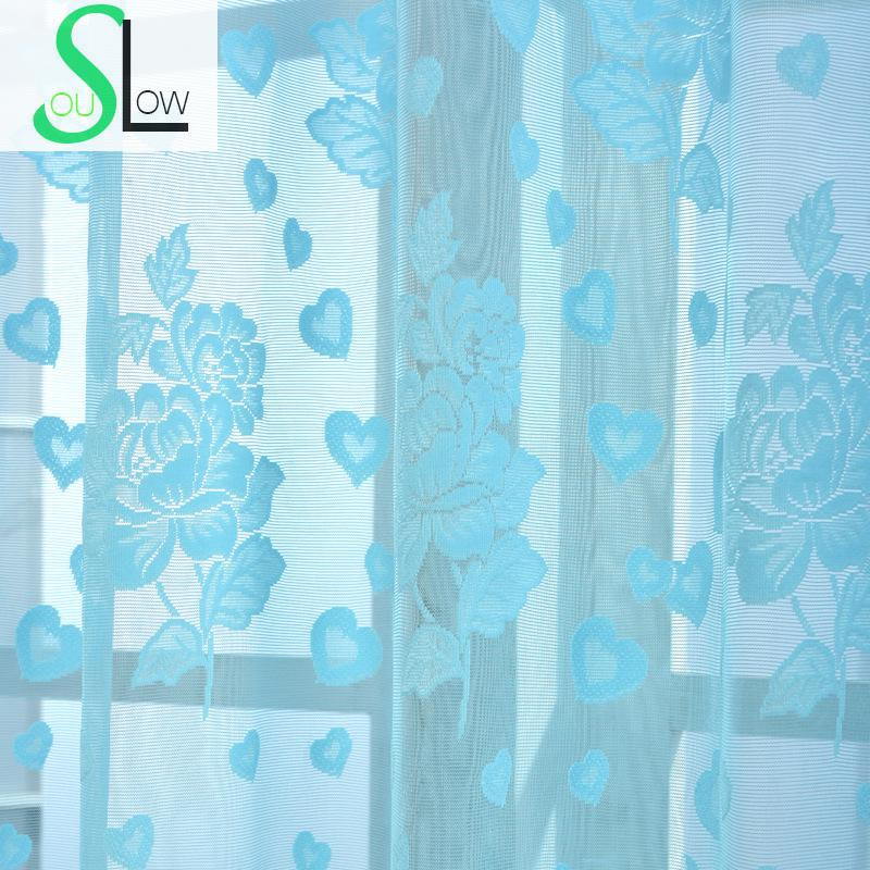 Slow Soul White Pink Sky Blue Jacquard Curtain Pastoral Floral Curtains  Tulle For Living Room Kitchen