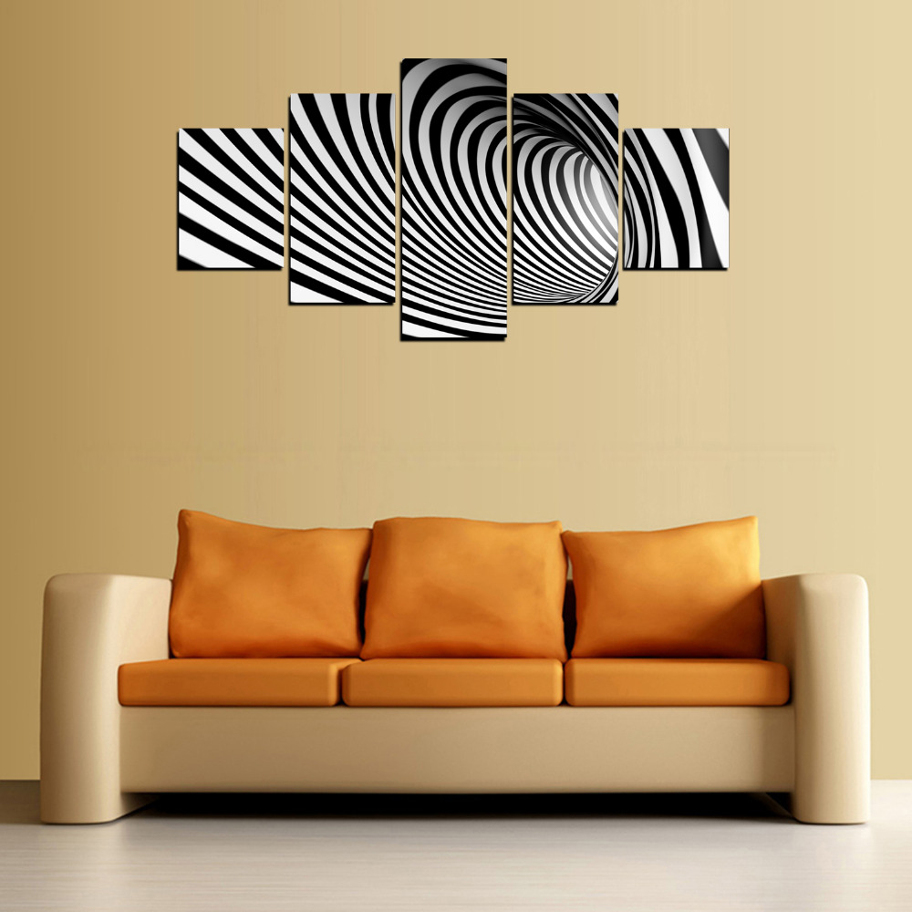 5 Panels Black and white spiral Canvas Print Painting for Living ...