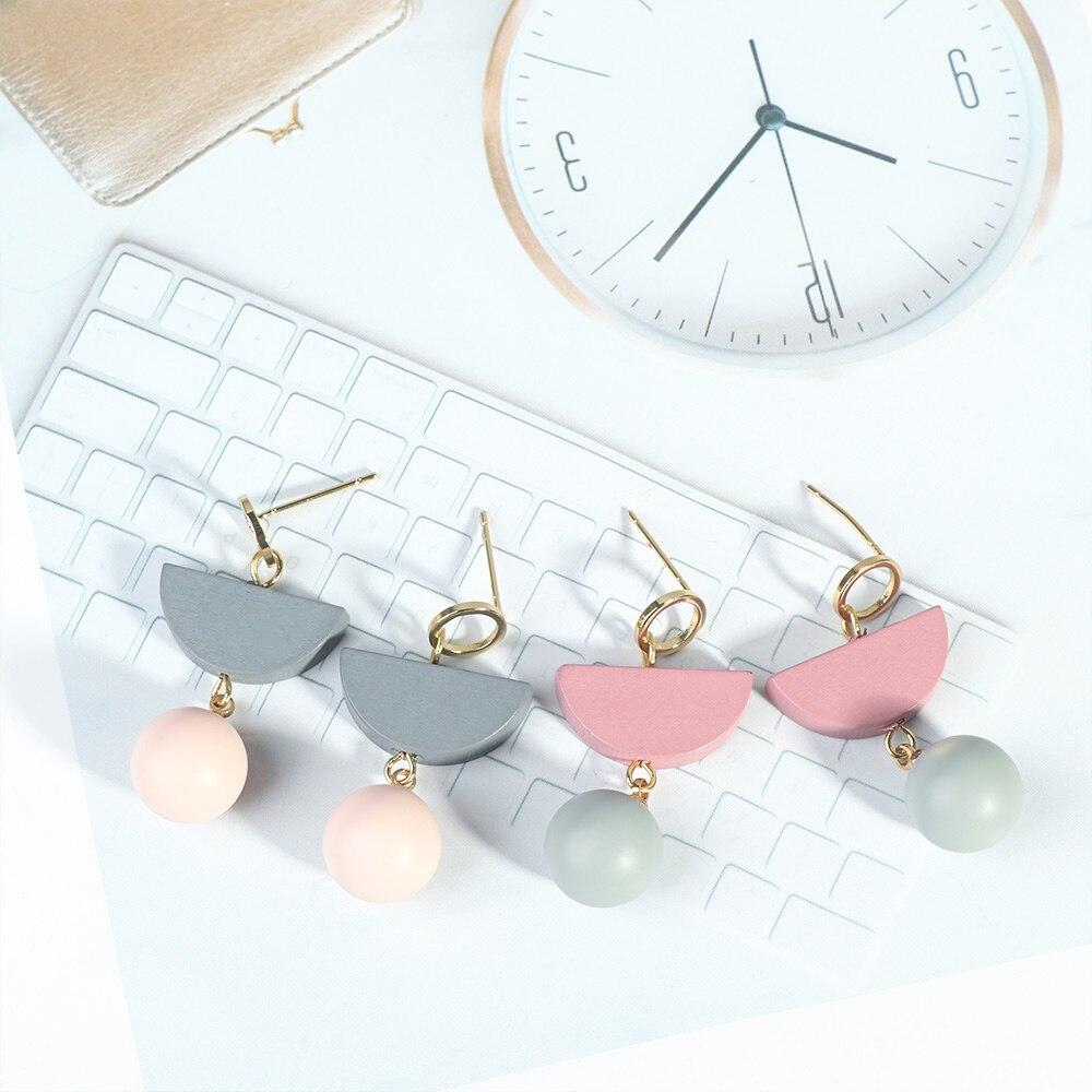 1Pair Half-round Shape Earrings Wooden Earrings Jewelry Woman Delicate Fashion Women Wedding Party Earring