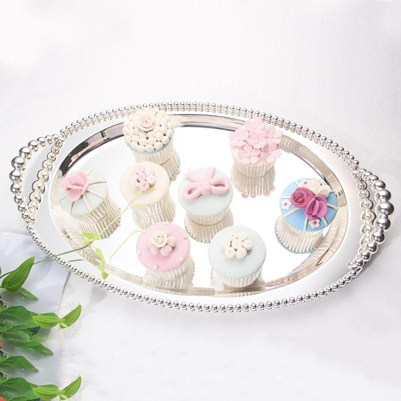 Plateau Dessert argent ovale gâteau topper mariage assiette fruits assiette Dessert assiettes cuisine rangement plateau mariage décoration