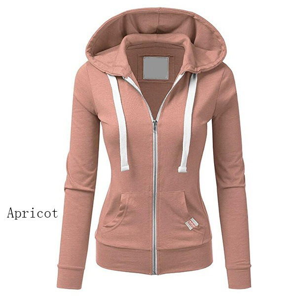 2019 Ladies Clothes Coat Hoodies Cotton  Full Solid Womens Female Zip-up Winter Autumn Solid Hoodie Clothing