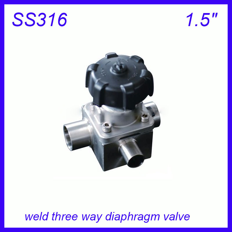 1.5 SS316L Sanitary stainless steel weld three way manual diaphragm valve sterile food grade f Wine, milk, beverages