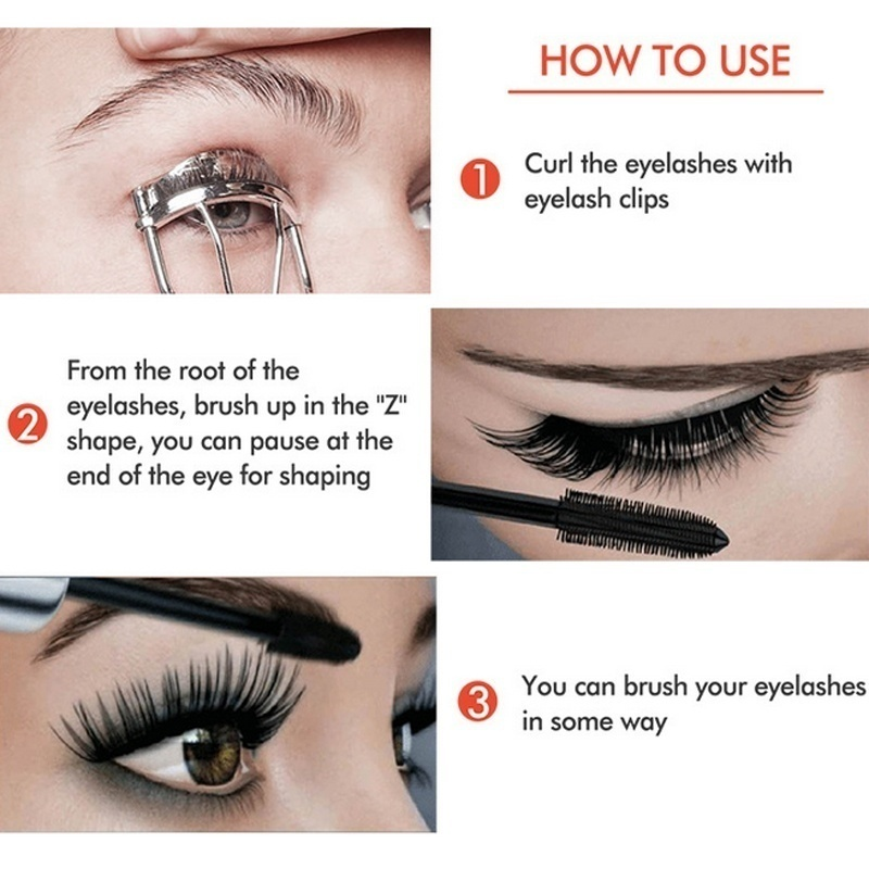 1Pcs Waterproof 4D Makeup Eyelash Mascara Eyelash Makeup Silk Fiber Lash Extension Lash Mascara Tubes Fashion Ladies Cosmetics 4