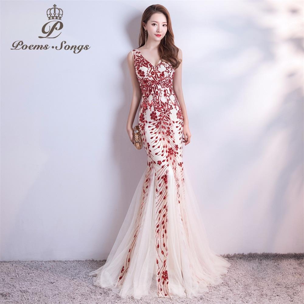Poèmes chansons 2019 paillettes sirène robe de soirée robes de bal robe de soirée formelle vestido de festa élégant Vintage robe longue