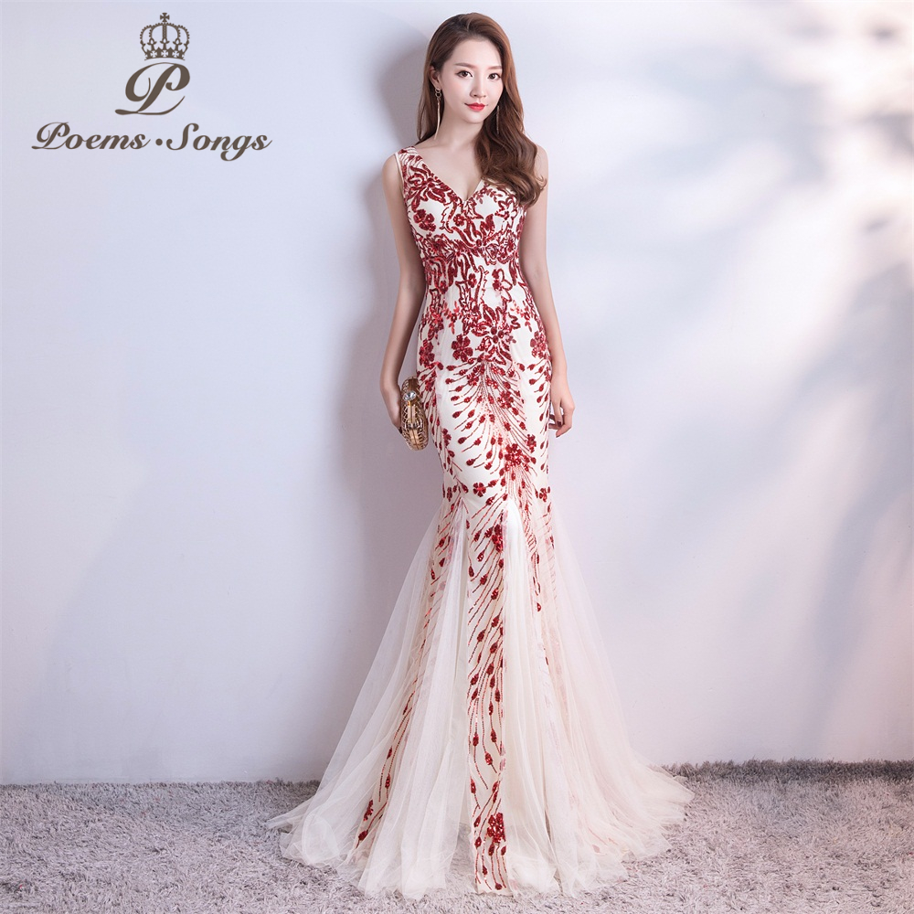 Poems Songs  Sequins Mermaid  Evening Dress Prom Gowns Formal Party Dress Vestido De Festa Elegant Vintage Robe Longue