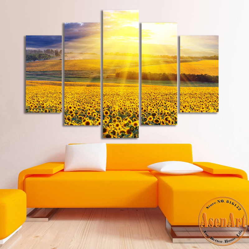 5 Panel Canvas Art Painting Sunflower Sunset Prints Wall Art ...