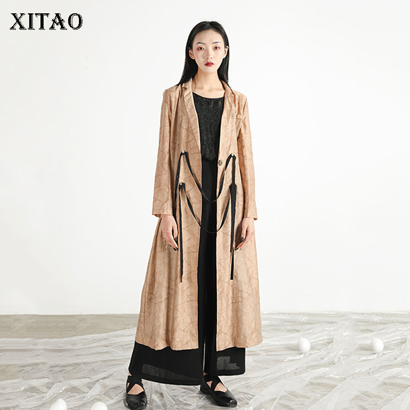 [XITAO] Single Button Women Korea Fashion 2019 Summer Solid Color Loose Coat Female Long A-line Turn-down Collar   Trench   DLL3556
