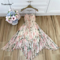 Truevoker Summer Designer Maxi Dress Women High Quality Cute Floral Printed Ruffle Patchwork Irregular Holiday Beach Strap Dress