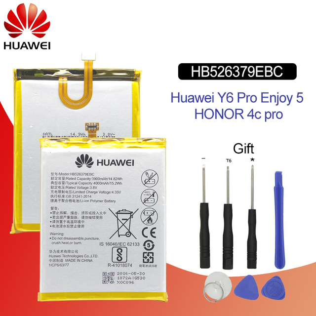 Hua Wei Original Phone Battery HB526379EBC For Huawei Y6 Pro / Enjoy 5 / Honor 4C Pro 4000mAh Replacement Batteries Free Tools