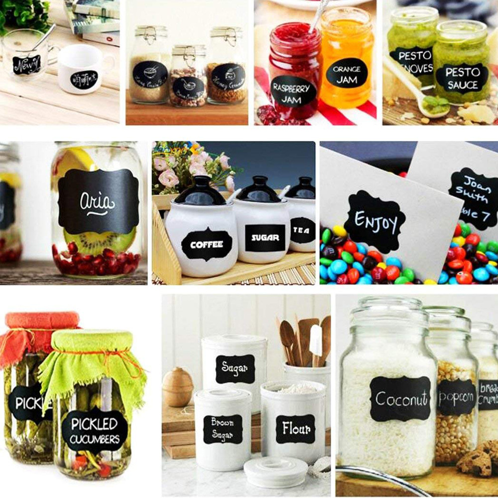 80pcs/10 sets Waterproof Glass Bottles Chalkboard Labels Tags Home Kitchen Jars Stickers Reused Wedding Party Decor Black Labels