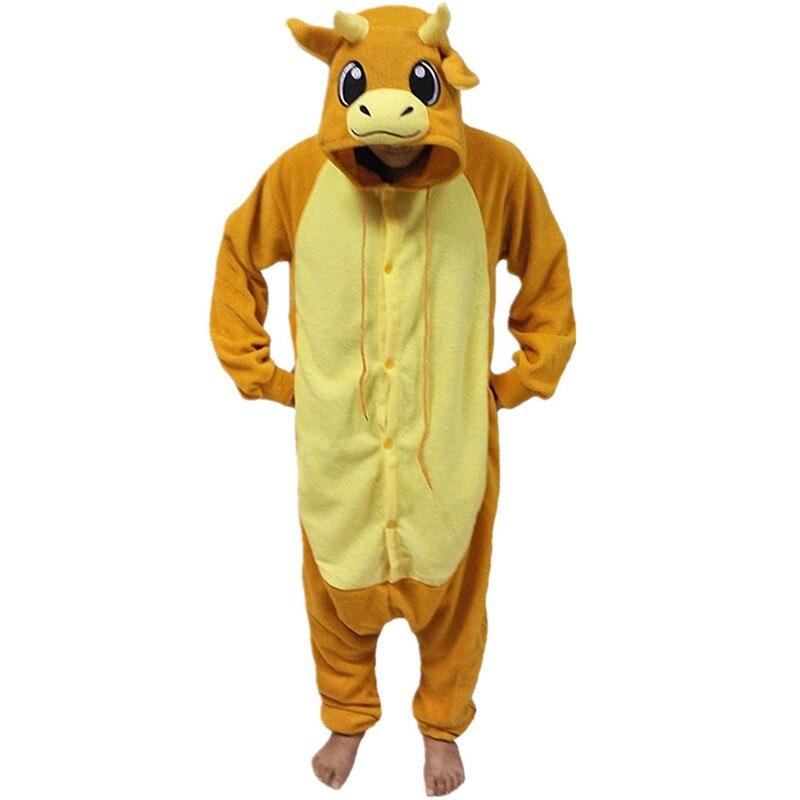 Cartoon Anime Cute Smile Yellow Bull Bullfight Onesie Halloween Cosplay Animals Cow Adult Women Men's Pajamas Sleepwear Jumpsuit