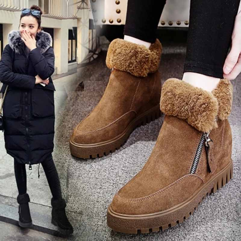 ФОТО Snow Boots Women Increasing Shoes Fur Sheep Wool Cony Hair 2017 Winter Boots Female Ankle Non-slip Plush Flat Heel Shoes SFWB055