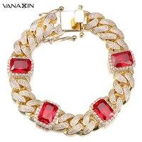 VANAXIN Luxury CZ Rhinestone Fashion Bracelets Bangles Top Quality Gold Silver Color Iced Out Cuban Bracelet