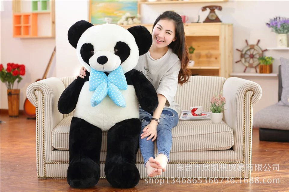 largest 120cm lovely bowtie panda plush toy,soft hugging pillow, birthday gift w5407 big lovely panda toys sitting panda plush doll with red heart soft toy birthday gift about 90cm