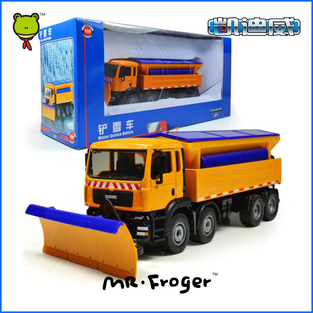 Mr.Froger Winter Service Car Mannequin alloy automobile mannequin Refined metallic Engineering Building automobiles truck Ornament Toys