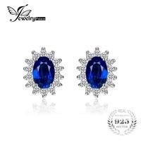 Kate Princess Diana William Wedding 2 5ct Blue Sapphire Channel Stud Earrings For Women Vintage Set