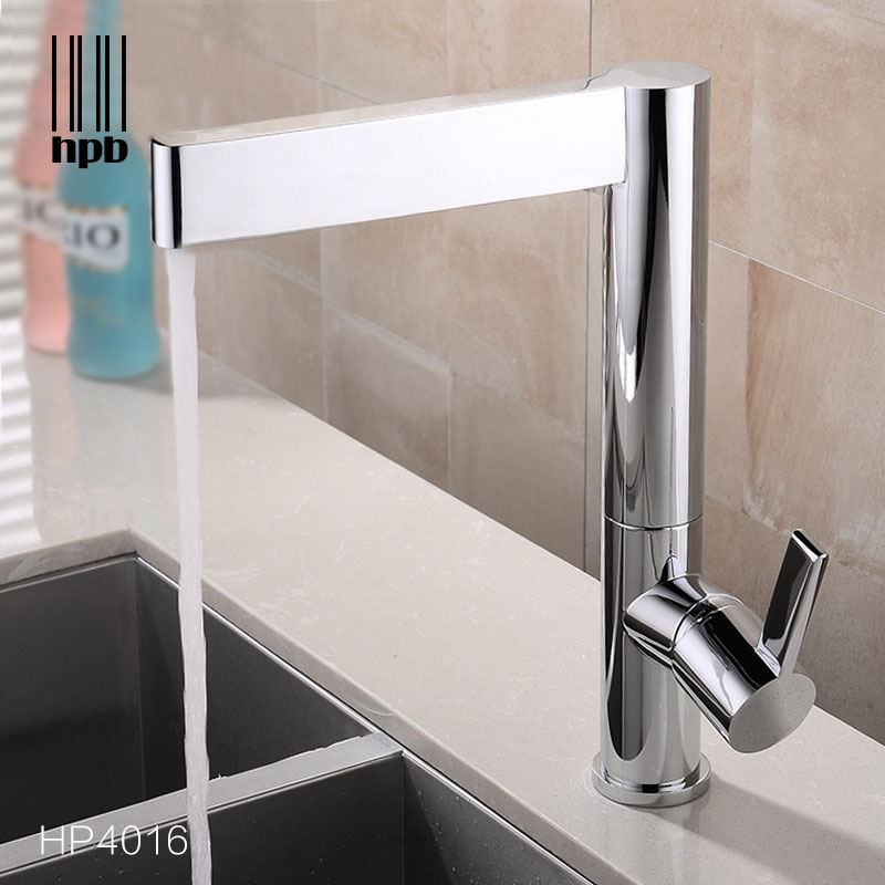 HPB Brass Kitchen Faucet Bathroom Sink Basin Mixer Tap Deck Mounted Cold Hot Water tap Swivel Spout Chrome Robinet de cuisine golden brass kitchen faucet dual handles vessel sink mixer tap swivel spout w pure water tap