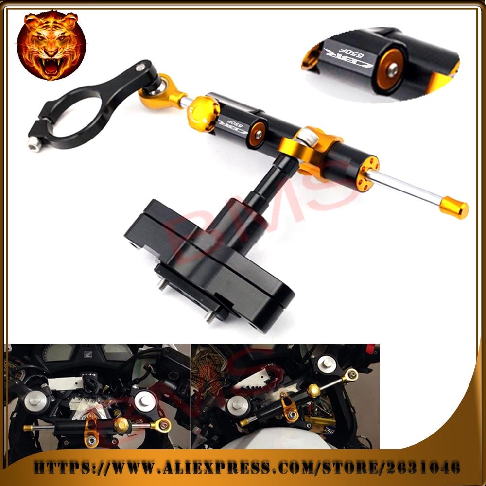 Motorcycle Steering Damper Stabilizer Adjustable Linear with Bracket Kit C For HONDA CBR 650 CBR650F Free Shipping Logo 2014 16