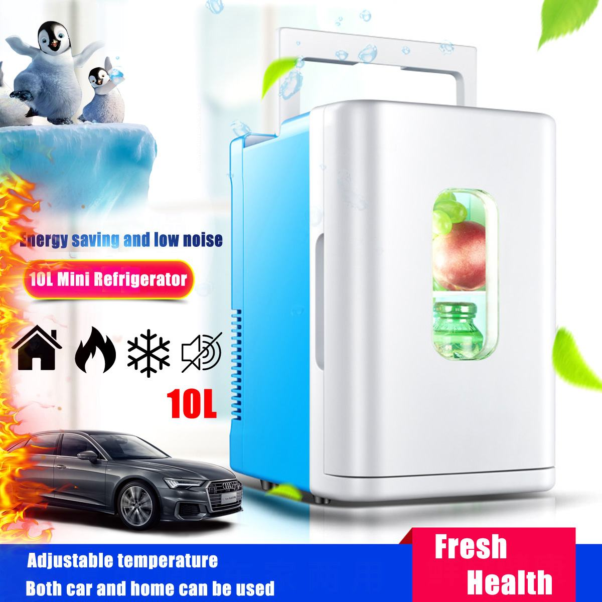 AUGIENB 220V Electric Refrigerator 10L Dormitory Small Refrigerator Multi-Purpose Mini Refrigerator Home Dual-Use