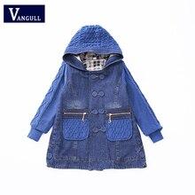 2018 crianças Espessamento vento casaco 5-13 anos de idade meninas roupas de todos os jogo denim casaco Diamante jacquard Camisola mangas bolso