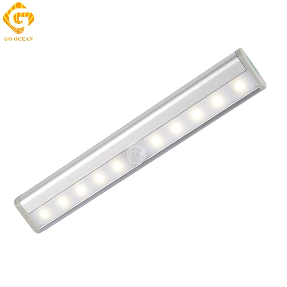 5V Under Cabinet Lights 10 LEDs IR Infrared Sensor Wireless Kitchen Lights Wardrobe Bar Lamp Night Lamps Counter Lighting