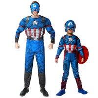 Takerlama Avengers Captain America Halloween Costume Kids Men Muscle Jumpsuits Boys Clothes Movie Superhero Cosplay Clothing