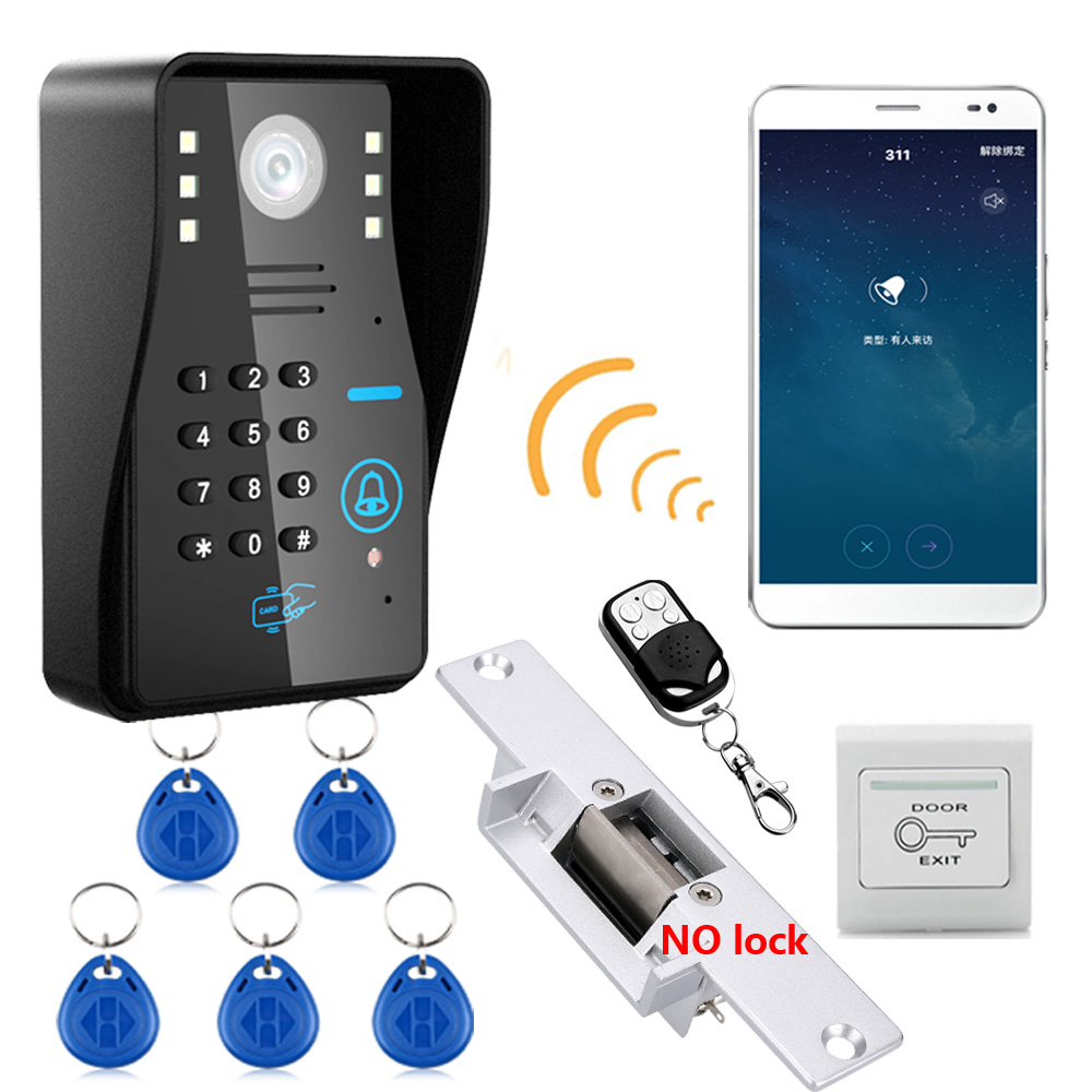 Wireless WIFI RFID Password Video Door Phone Intercom System Doorbell +Access Control System + NO Electric Strike Door Lock