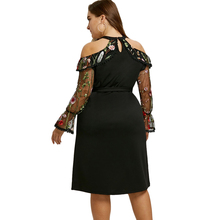 Women Plus Size 5XL Mesh Panel Embroidery Bodycon Dress Sexy Club Party Lace Long Sleeves Belted Midi Dresses Vestidos