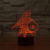Modern 3D GoldFish Led Night Lights Usb Led Table Lamps 7 Colour Changing Amazing 3D Illusion GoldFish Lamps For Gift